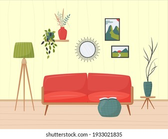 Cute minimalistic interior. Red sofa, floor lamp and ottoman. Home plants, mirror, pictures and other decorative elements. Cozy living room flat vector illustration. Trendy scandinavian hygge interior