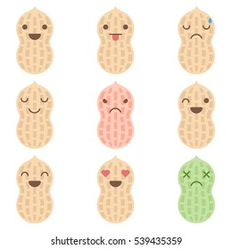 Cute minimalistic peanut emoticons isolated on white background.