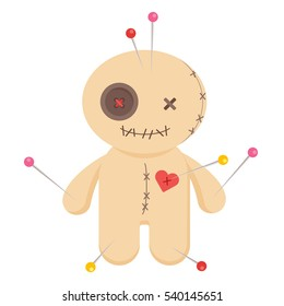 Cute minimalistic voodoo doll isolated on white background.