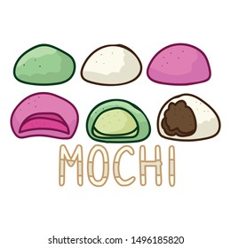 Cute mochi assortment vector. Hand drawn traditional Japanese snack clipart.
