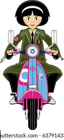 Cute Mod Girl on Scooter