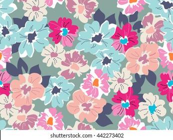 Cute modern floral print ~ seamless background