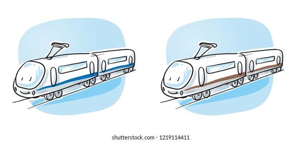 Cute modern high speed train, city train, railway. Hand drawn cartoon sketch vector illustration, marker style coloring.