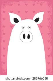 cute and modern pig vector illustration art