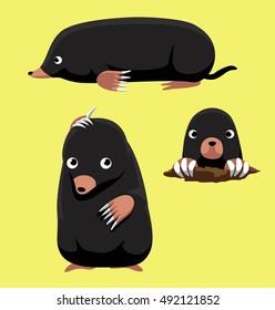 Cute Mole Poses Cartoon Vector Illustration