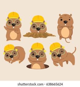 Cute Mole Poses Cartoon Vector Illustration.