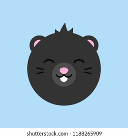 Cute mole round vector graphic icon. Black mole, insectivore animal head, face illustration. Isolated on blue background.