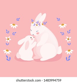 Cute mommy and baby bunny