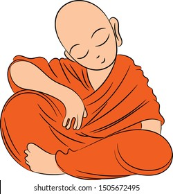 cute monk buddha art vector