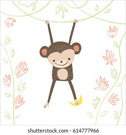 Cute monkey with banana and floral plants on white background. Vector illustration in cartoon style for print design of children's banners, postcards, posters, booklets.