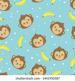 cute monkey with banana seamless pattern blue background for fabric, vector illustration background
