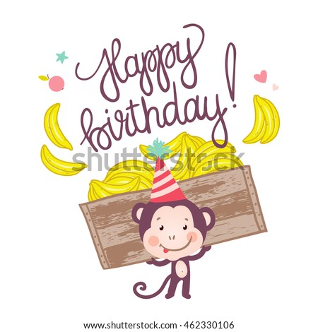 Cute Monkey With Bananas Happy Birthday Card Cartoon Vector Illustration
