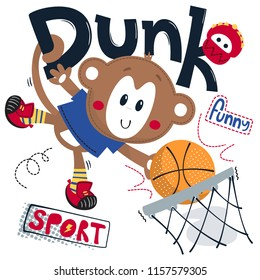 Cute monkey boy cartoon playing basketball on white background illustration vector, t-shirt graphic design.