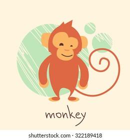 Cute Monkey Cartoon Drawing Flat Vector Illustration