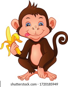 cute monkey cartoon holding a banana