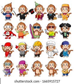 Cute monkey cartoon mascot pack of illustrations