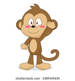 cute monkey character waving with a smile vector illustration