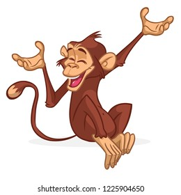 Cute Monkey Chimpanzee Flat Bright Color Simplified Vector Illustration In Fun Cartoon Style Design