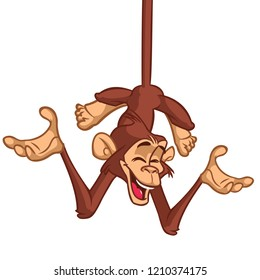 Cute Monkey Chimpanzee Hanging  On Wood Branch Flat Color Simplified Vector Illustration In Fun Cartoon Style Design