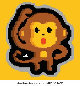 cute monkey close mouth with hands pixel art vector