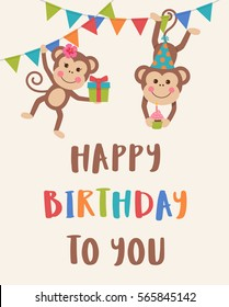 Cute monkey couple cartoon illustration for birthday invitation or greeting card design template