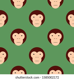 Cute monkey face or head seamless pattern on green background. Stock vector illustration.