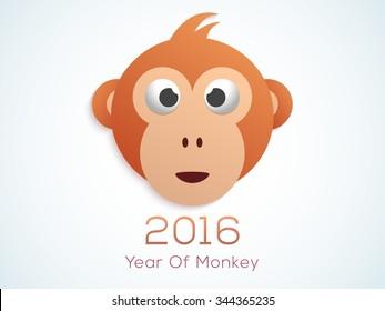 Cute Monkey face on shiny background for Chinese New Year 2016 celebration.