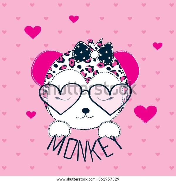 Cute Monkey Girl Sunglasses On Heart Stock Vector Royalty