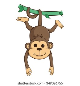 Cute Monkey Hanging On The Green Vines With His Tail