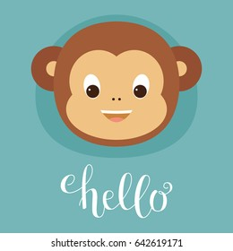 "Cute monkey head. Lettering ""Hello"". Vector illustration"