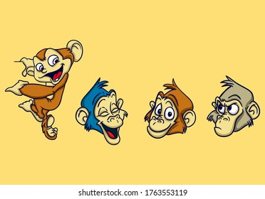 cute monkey head sticker design and far from creepy impression suitable for your merchandise needs