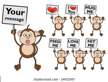 Cute monkey holding a sign