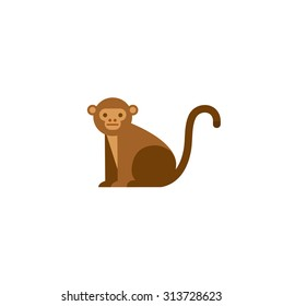 Cute monkey icon. Vector illustration isolated on a white background.