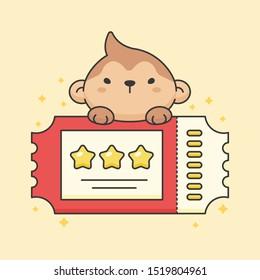 Cute monkey on top of ticket cartoon animal character vector. Cartoon character design.