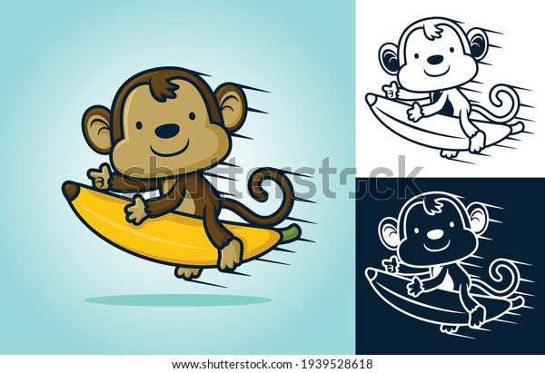 Cute monkey ride on flying banana. Vector cartoon illustration in flat icon style
