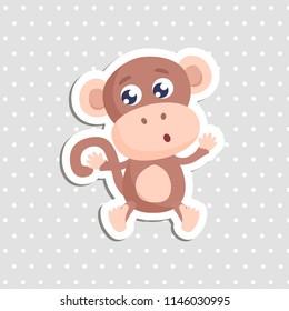 Cute monkey sticker vector illustration. Flat design.