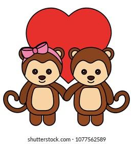 cute monkeys couple characters