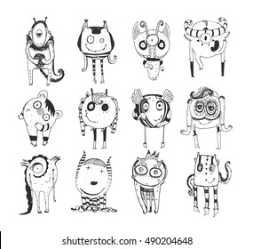 Cute monochrome collection with hand drawn doodle monsters, isolated on white background. Lovely characters staying and watching. Black and white vector childish illustration.