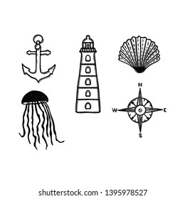 Cute monochrome nautical lineart cartoon vector illustration motif set. Hand drawn isolated anchor, lighthouse, jellyfish and compass elements clipart for seashell blog