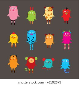 cute monster animal collection