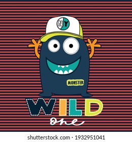 Cute monster cartoon with basketball cap and wild one phrase on striped background. T-shirt graphics design for kids.
