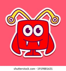 cute monster cartoon doodle design for coloring, backgrounds, stickers, logos, symbol, icons and more