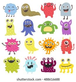 Cute monster color character funny design element