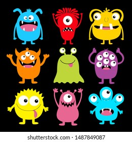 Cute monster colorful round silhouette icon set. Eyes, tongue, tooth fang, hands up. Cartoon kawaii scary funny baby character. Happy Halloween. Black background. Flat design. Vector illustration