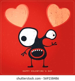 Cute Monster with emotions and heart on retro red grunge background. Cartoon illustration. Valentine`s day gift card.