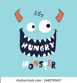 cute monster face drawn as vector for tee print