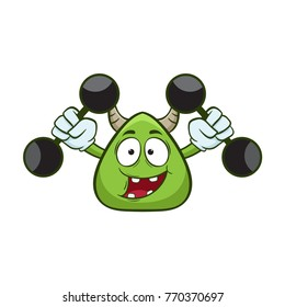 cute monster fitness gym cartoon illustration