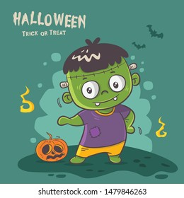 cute monster frankenstein, happy halloween party poster design, greeting card