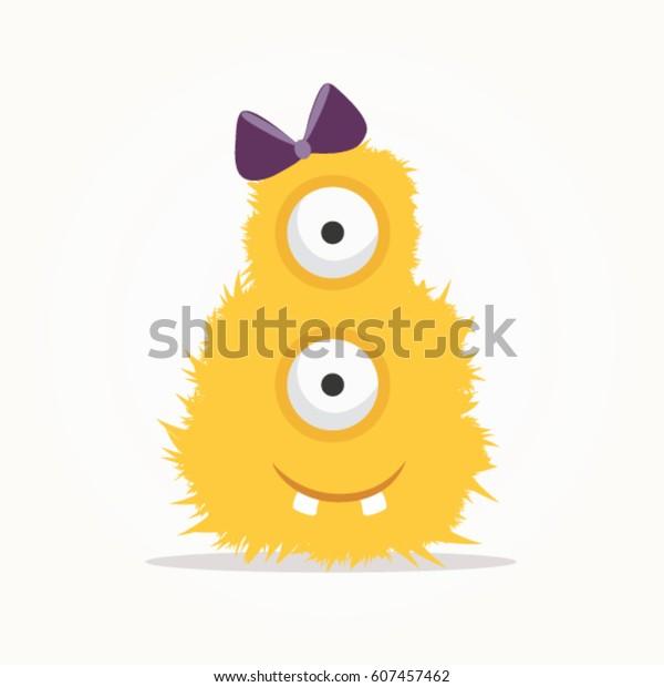 かわいいモンスターイラスト黄色い怪獣漫画のベクター画像