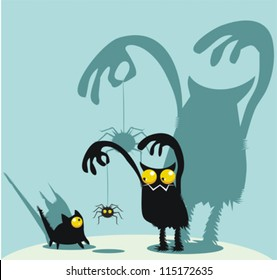 Cute monster, kitty and spider